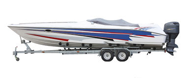 Speedboat on the trailer Stock Images