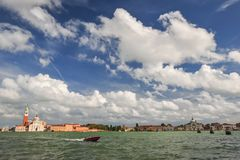 Speedboat in Venice Stock Photography