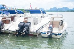 Speedboat is waiting customers for going to dive. In Thailand Royalty Free Stock Images