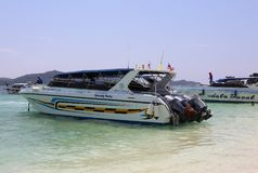 Speedboat waiting customers at  Khai nai island Royalty Free Stock Images
