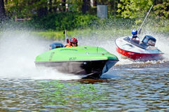 Speedboats in Action. ROUDNICE NAD LABEM, CZECH REP. - MAY 7: Unidentified speedboat drivers in action at Roudnicky Trojuhelnik (RT) on May 7, 2011 in Roudnice Stock Images
