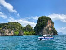 Speedboats anchored at the Island in Krabi Province Thailand. KRABI THAILAND 3 FEB 2018: Speedboats anchored at the Island in Krabi Province Thailand. Phi Phi is Royalty Free Stock Photos