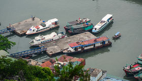 Speedboats docking at the pier in Quang Ninh, Vietnam.  Royalty Free Stock Photos