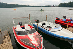 Speedboats at the jetty in Bali island, Indonesia Royalty Free Stock Photo