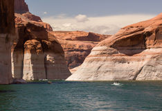 Speedboats on Lake Powell. A speedboat enjoys a summer day on Lake Powell at the Arizona and Utah Border Stock Photo