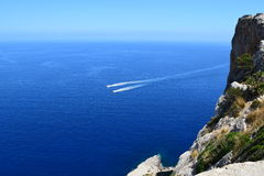 Speedboats near Formentor on Majorca Royalty Free Stock Photos