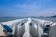 Speedboats. Are playing in the sea Royalty Free Stock Images