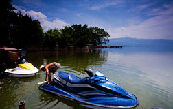 Speedboats of Qionghai Lake Stock Photo