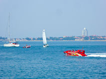 Speedboats and sailing boats boating. On Qingdao Olympic Sailing Center Fushan Bay in Shandong province China Royalty Free Stock Images