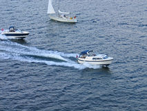 Speedboats at sea Stock Photo