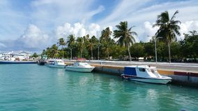 Speedboats on a  turquoise lagoon, near a jetty of Kudahuvadhoo island with palmtrees. Sunny day with white clouds. Speed boats near a jetty, palm trees on the Royalty Free Stock Photos