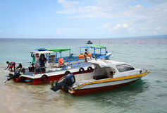 Speedboats waiting for passengers in Bali, Indonesia.  Stock Image