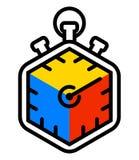 Speedcubing loga Rubik ` s kolorowy sześcian i stopwatch postu 3d łamigłówka rozwiązuje znaka odizolowywającego na białym tle Fotografia Royalty Free
