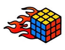 Speedcubing loga Rubik ` s sześcian i stopwatch postu 3d łamigłówka rozwiązuje znaka odizolowywającego na popielatym tle Obraz Stock