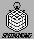 Speedcubing loga Rubik sześcian i stopwatch postu 3d łamigłówka rozwiązuje znaka odizolowywającego na popielatym tle Fotografia Stock