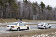 Speeder pulled over by police. Speeder motorist pulled over by police Stock Photography