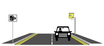 Speeding. Motorist being caught speeding by roadside camera Stock Illustration