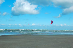Speeding. Two kitesurfers on North sea,Belgian Stock Images