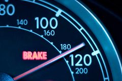 Speeding. Speedometer pointing to almost 120MPH stock images
