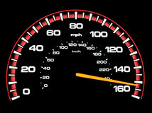 Speeding. A speedometer with the speed reading 150+ mph.  Background is true black Stock Photo