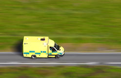 Speeding ambulance. Aerial view of a speeding ambulance responding to an emergency stock photos