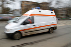 Speeding ambulance stock image