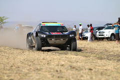 Speeding black CR-2 rally car front view. Sun City, South Africa – OCTOBER 1, 2016: Front view of Speeding black CR-2 rally car in race at Sun City 450 stock photos