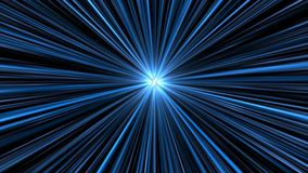 Speeding through a blue space tunnel. Video of an object or rocket (unseen) racing through a black and blue space tunnel towards a bright point of light stock video footage