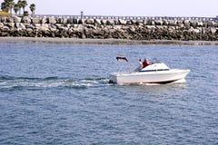 Speeding boat. View of boat speeding Stock Photo
