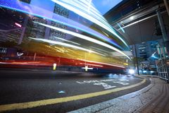 Speeding bus, blurred motion. Royalty Free Stock Images