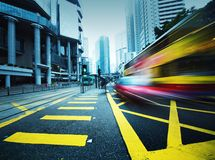 Speeding bus, blurred motion. Royalty Free Stock Photos