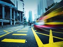 Speeding bus, blurred motion. Royalty Free Stock Photos