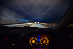 Speeding car  dashboard Royalty Free Stock Images