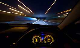 Speeding car  dashboard Stock Photography