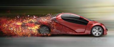 Speeding car disintegrating Stock Image