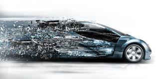 Speeding car disintegrating Royalty Free Stock Photos
