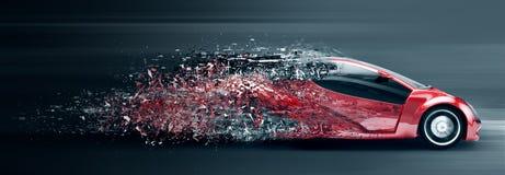 Speeding car disintegrating Stock Photo