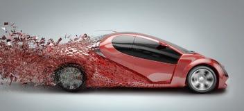 Speeding car disintegrating Stock Photography