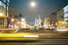 Speeding car on the street with front view of Canal Griboedova w Stock Photos