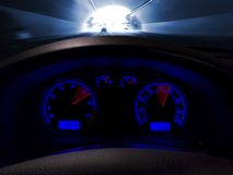 Speeding Dashboard in Motion. Moving Through a Tunnel Royalty Free Stock Image