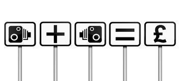 Speeding fine concept. Illustration depicting road signs with speed camera financial gain concept. White background Stock Photo