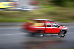 Firefighter vehicle panning Stock Photo