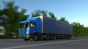 Speeding freight semi truck. Road cargo transportation. Seamless loop 4K clip. Speeding freight semi truck. Road cargo transportation. Seamless loop 4K video stock footage