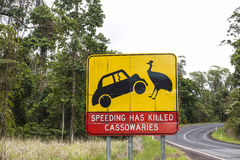 Speeding has killed cassowaries sign Stock Photos