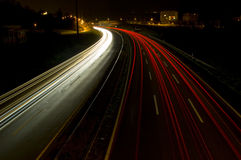Speeding Lights on Night Highway Royalty Free Stock Image