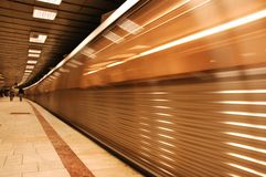 Speeding Metro. In the Subway Royalty Free Stock Images