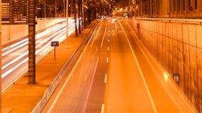 Speeding night car lights stock video