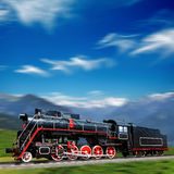 Speeding old locomotive Royalty Free Stock Photo