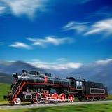 Speeding old locomotive royalty free stock photo