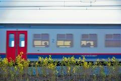 Speeding passing blurred train Royalty Free Stock Photo